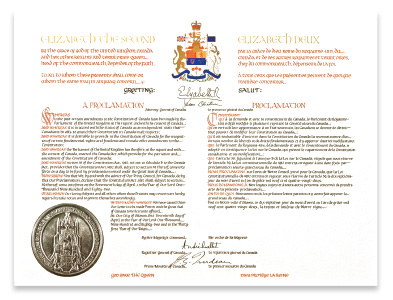 On April 17, 1982, the Queen signed the proclamation bringing into force the Constitution Act, 1982, which includes the Canadian Charter of Rights and Freedoms.