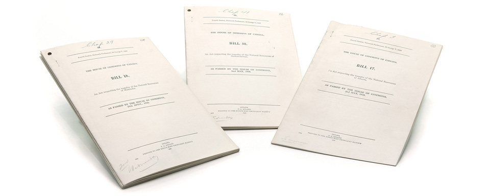 From left to right: Manitoba Natural Resources Act, 1930; Saskatchewan Natural Resources Act, 1930; Alberta Natural Resources Act, 1930