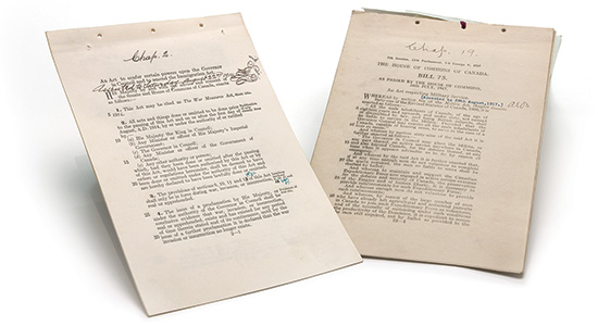 From left to right: War Measures Act, 1914; Military Service Act, 1917