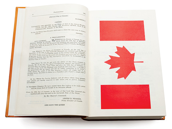 Extract from the Journals of the Senate, page vi, 1964: Proclamation of the Maple Leaf Flag