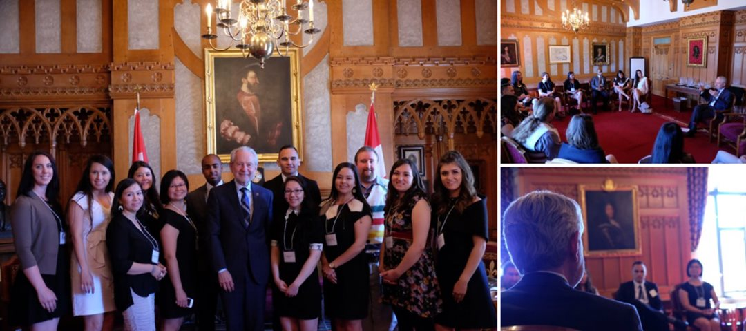 The youth leaders were also invited around Parliament to meet Senate Speaker George J. Furey, Clerk of the Senate Charles Robert and Government Leader in the Senate Peter Harder to learn more about the Senate itself.