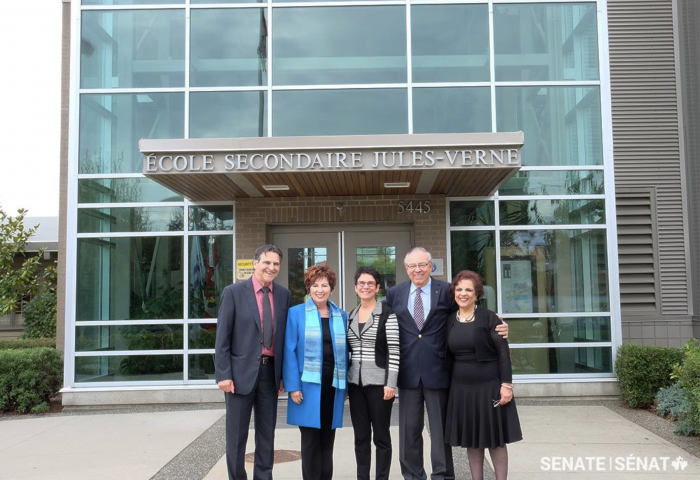 To learn more about French education in British Columbia, members of the Senate Committee on Official Languages visited l'École secondaire Jules-Verne. From left to right: Senator Paul McIntyre, Senator Claudette Tardif, Senator Raymonde Gagné, Senator Ghislain Maltais and Senator Senator Mobina Jaffer.