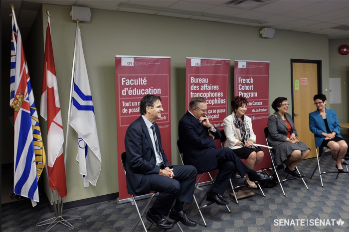 Senators visited the Bureau des affaires francophones et francophiles (BAFF) at Simon Fraser University, where they spoke to students who are passionate about bilingualism and learning the French language and culture.