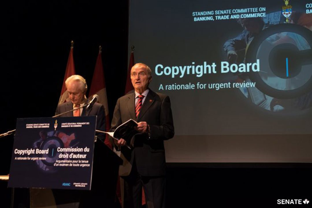 Senators Joseph Day and  Doug Black spoke of the need for an in-depth review of Canada's Copyright Board at a press conference in Ottawa on December 1.