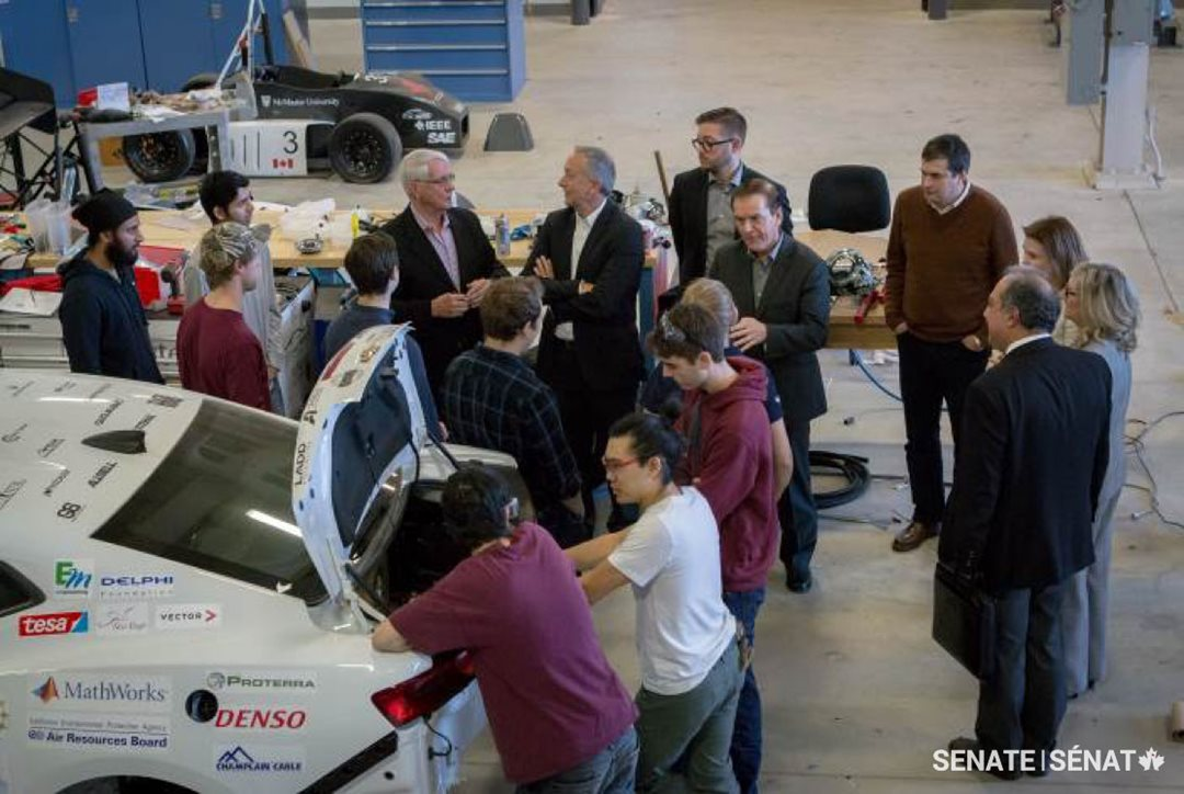 Senators visit McMaster University's Automotive Research Centre and chat with students from the McMaster Engineering EcoCAR 3 Team.