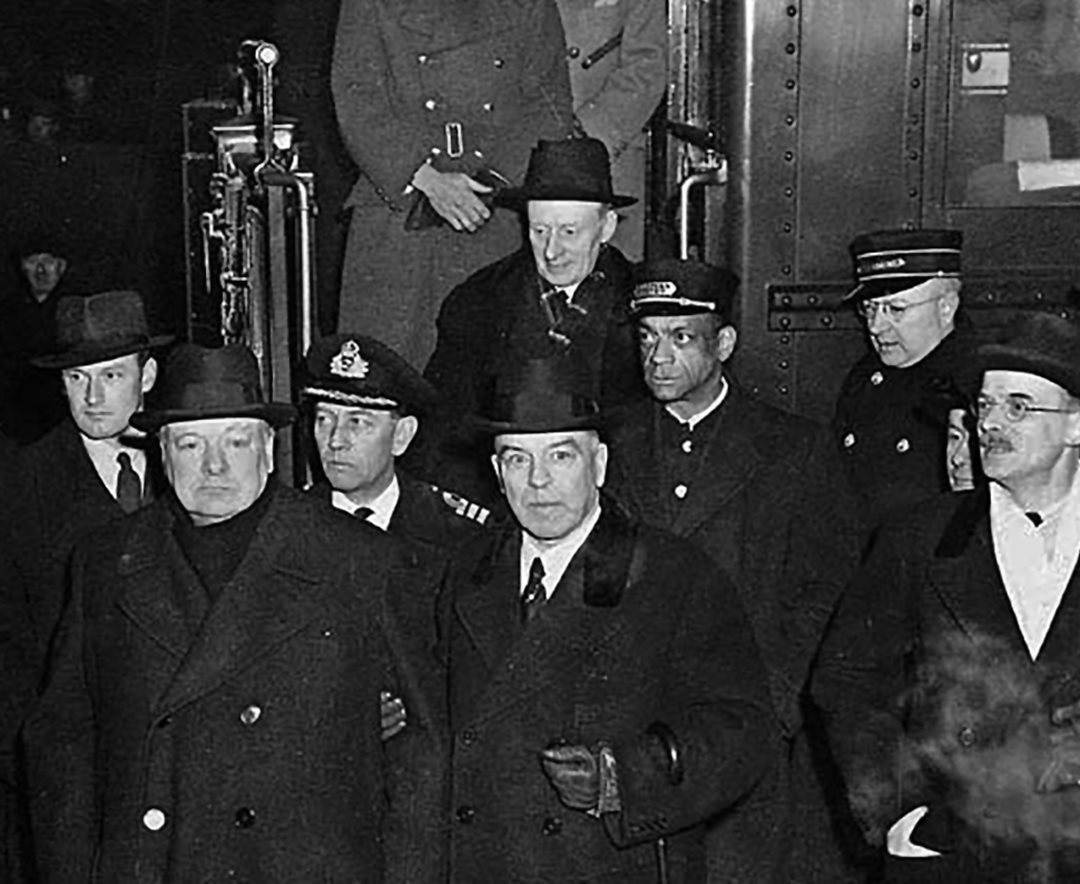 British Prime Minister Winston Churchill (second from left) is welcomed to Ottawa by Canadian Prime Minister William Lyon Mackenzie King in December 1941.