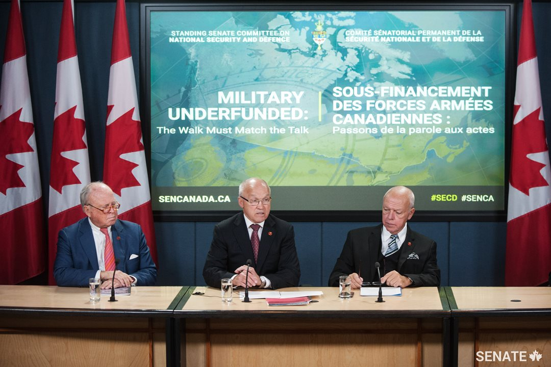 Members of the Senate's defence committee, Senator Colin Kenny, Senator Daniel Lang (Chair) and Senator Jean-Guy Dagenais release the first part of their Defence Policy Review. The report looks at various issues affecting the Canadian military, including procurement.