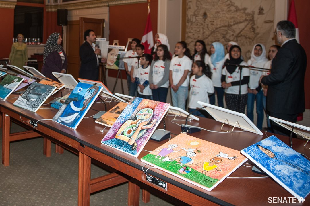 The art exhibition of 40 paintings by Syrian refugee children.