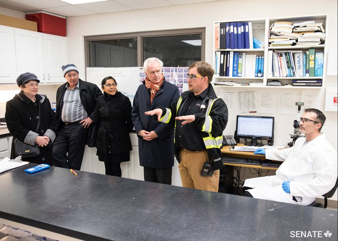 Senators toured the Summerside waste water treatment plant.   From left: Senator Diane Griffin, Senator Dennis Patterson, Senator Rosa Galvez, Senator Douglas Black, Sam Arsenault, waste water operations supervisor, Chad Fraser, waste water treatment operator.