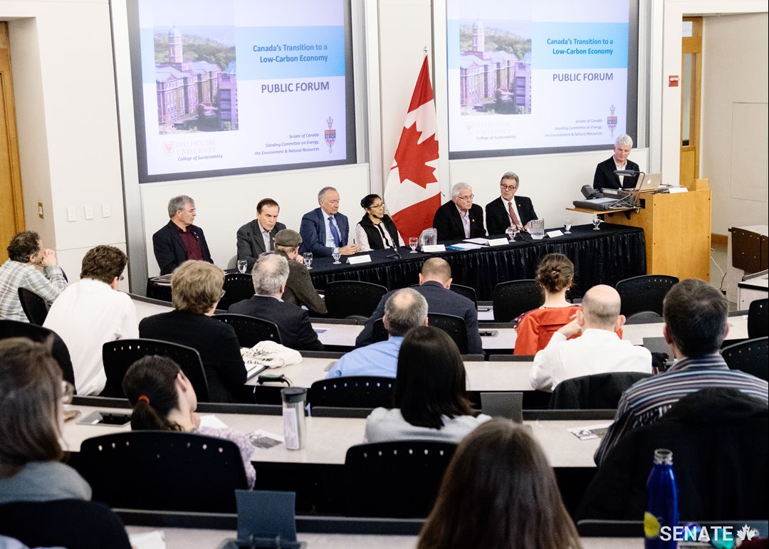 Senators take part in a public forum at Dalhousie University on Canada's transition to a low-carbon economy.