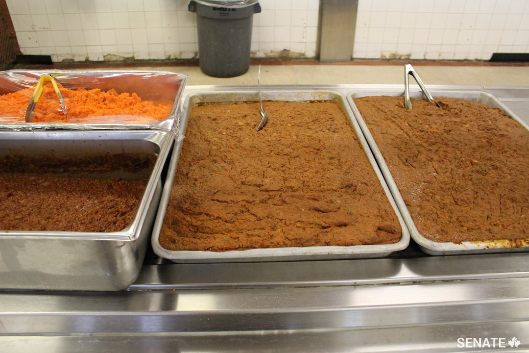 Trays of food at Collins Bay Institution are ready for service.