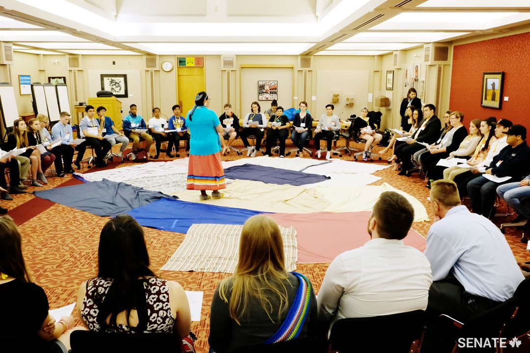 Youth forum participants start the day off with a KAIROS blanket exercise, simulating the loss of land, isolation and trauma experienced by Canada's Indigenous peoples over the course of colonization.