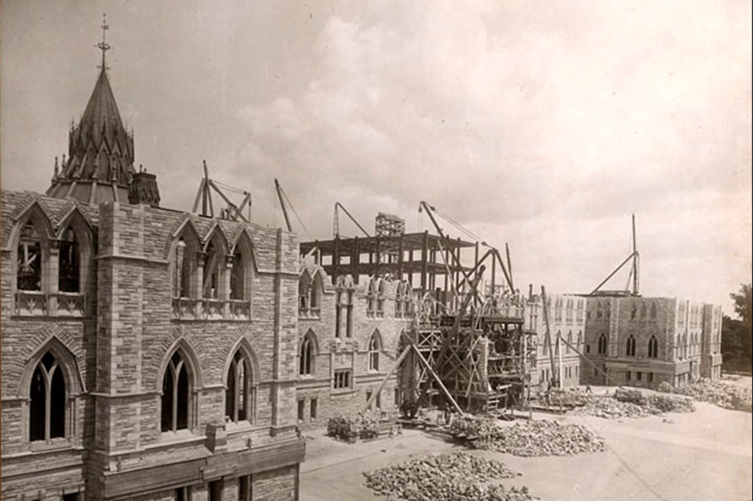 Construction was well underway when parliamentarians gathered on July 2, 1917 to dedicate the new Centre Block being built to replace the 19th-century original, destroyed by fire in 1916.