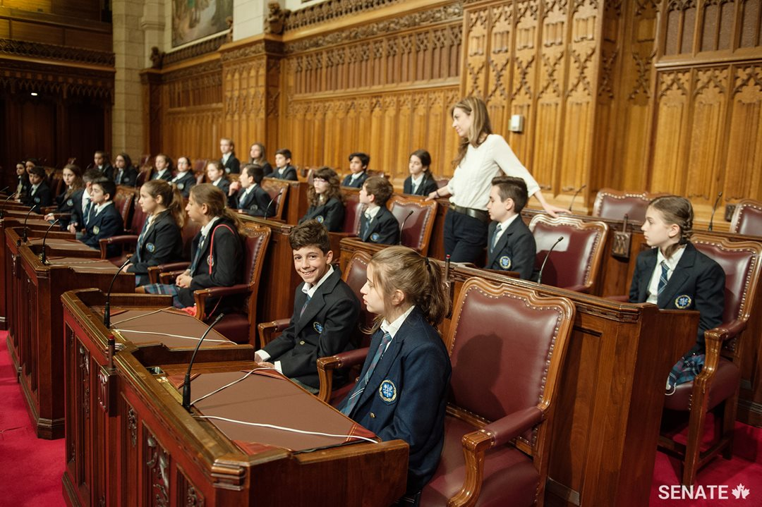 Students from Montreal's Socrates-Demosthenes school visited the Senate on May 17, 2017 as part of a new initiative that brings elementary and middle school students to Parliament to spend time with Canadian senators.