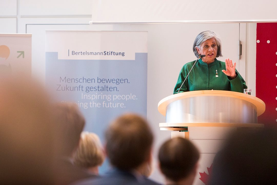 "Senator Ratna Omidvar tells an audience about the keys to multiculturalism in her talk, ""Us and Them: Difference, Diversity and a World of Difference"" at the Embassy of Canada to Germany in Berlin, April 26, 2017."