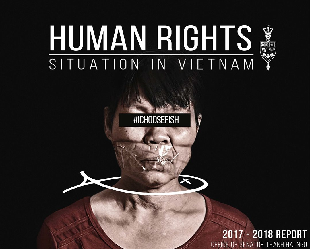 Cover page of the 2017-2018 Human Rights in Vietnam report drafted by Senator Ngo's <a href='http://senatorngo.ca/summer-internship-program/' target='_Blank'>interns</a>.