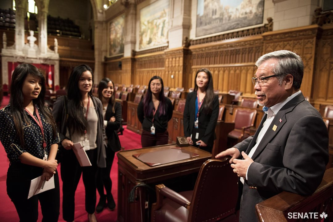 Senator Ngo invites his interns to the Red Chamber to hear about their experiences on the Hill.