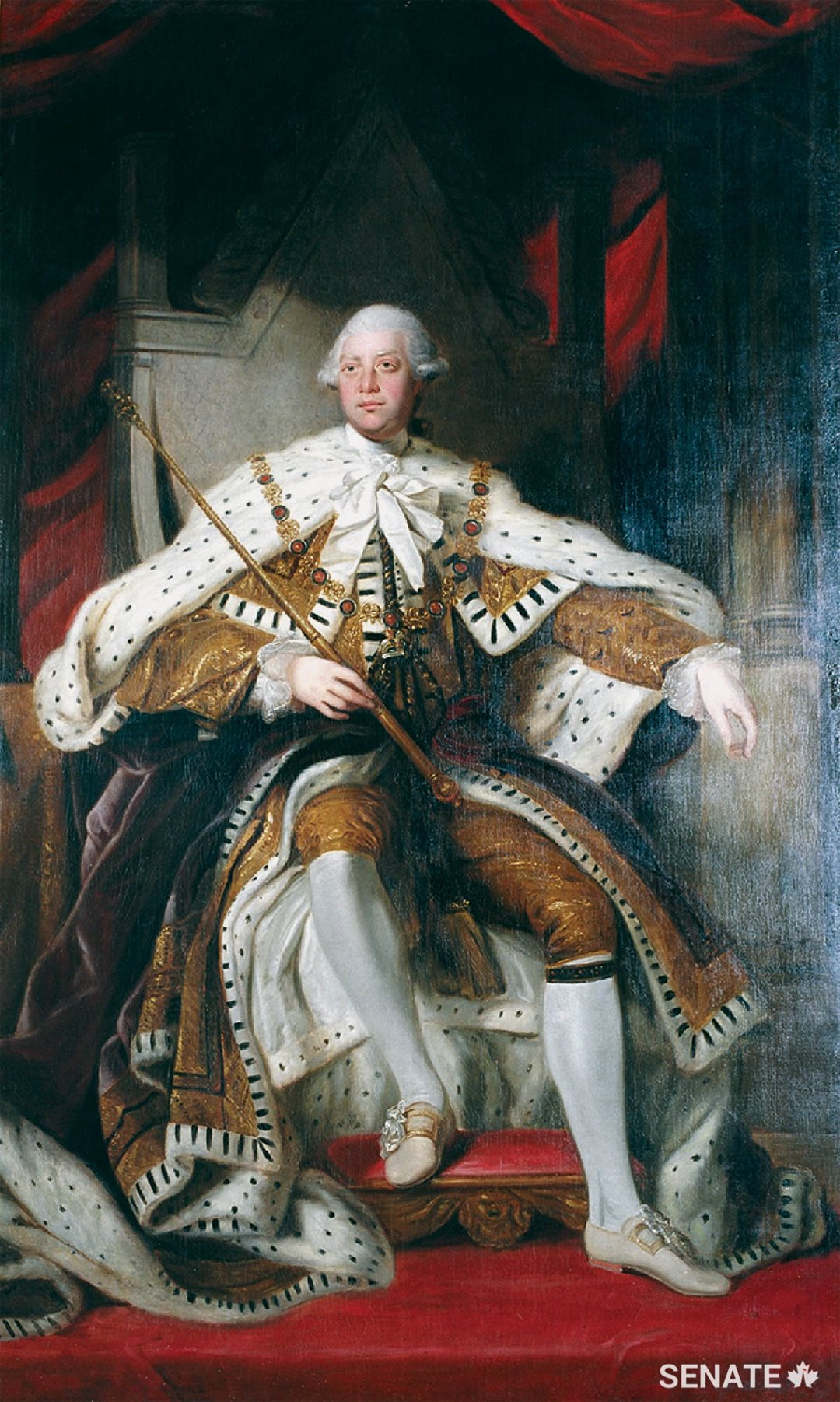 George III's portrait hangs on the south wall of the foyer. George had a combative relationship with his official portraitist, Joshua Reynolds. Despite their personal differences, Reynolds depicted the King with the grandeur and bearing of an ideal Enlightenment monarch.