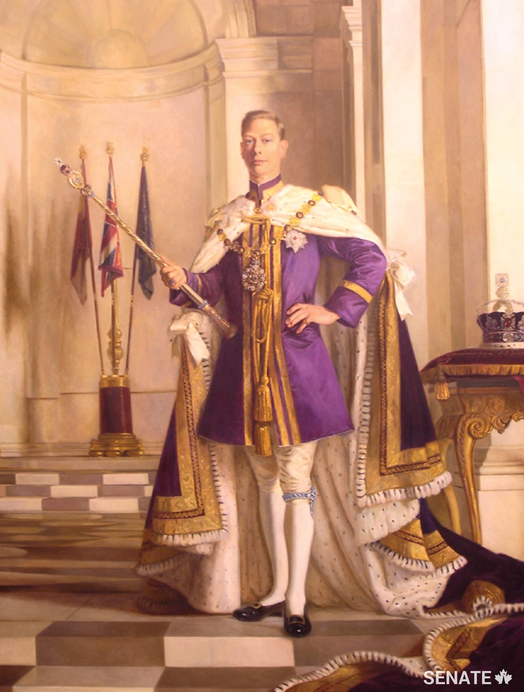Robert Swain's portrait of King George VI depicts a quietly dignified king who presided over the creation of the Commonwealth of Nations as well as Newfoundland's entry into Confederation in 1949.