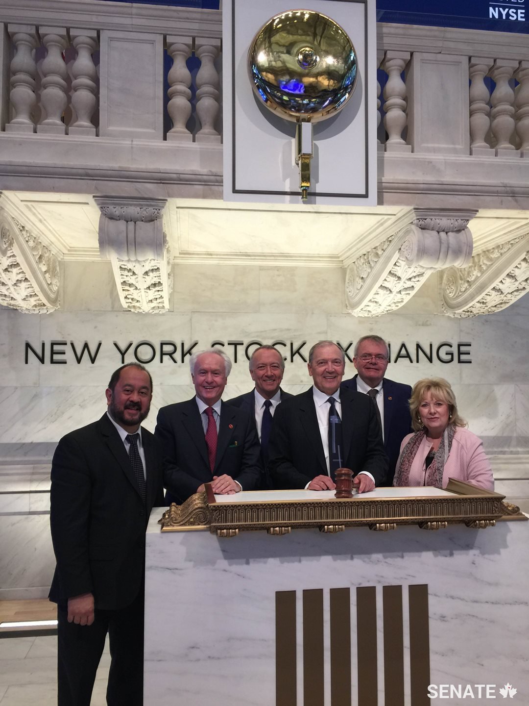 Committee members visit the New York Stock Exchange during a fact-finding mission in May 2017.