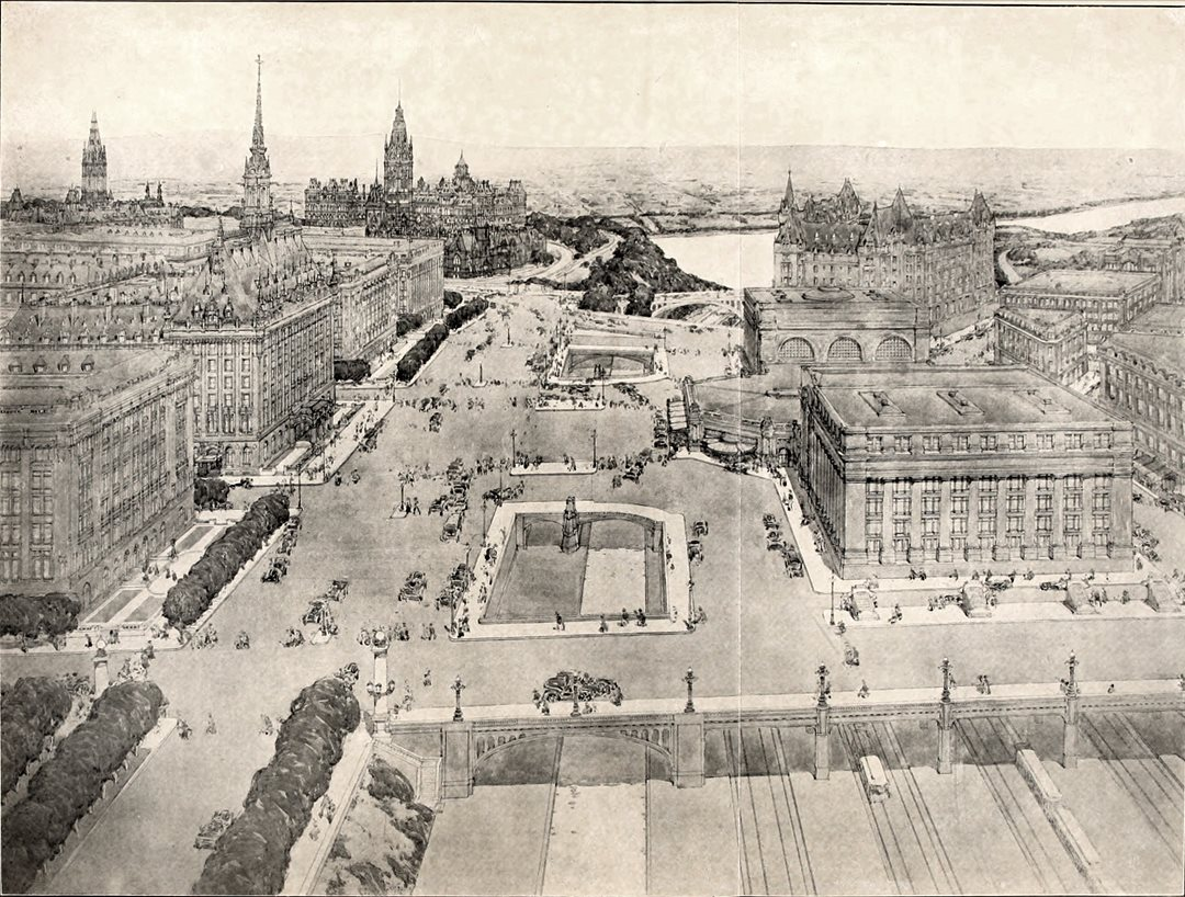 In the early 1900s, Ottawa wrestled with what to do about cramped streets and traffic congestion. A 1915 plan drawn up by urban planner Edward Bennett, never formally adopted, called for a mammoth public square straddling the Rideau Canal and flanked by Beaux-Arts buildings to the west and an expanded Union Station to the east. (Queen's University)
