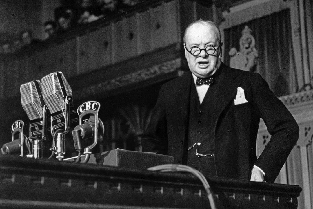 British Prime Minister Winston Churchill delivers a wartime speech in Canada's House of Commons in 1941. (Library and Archives Canada)