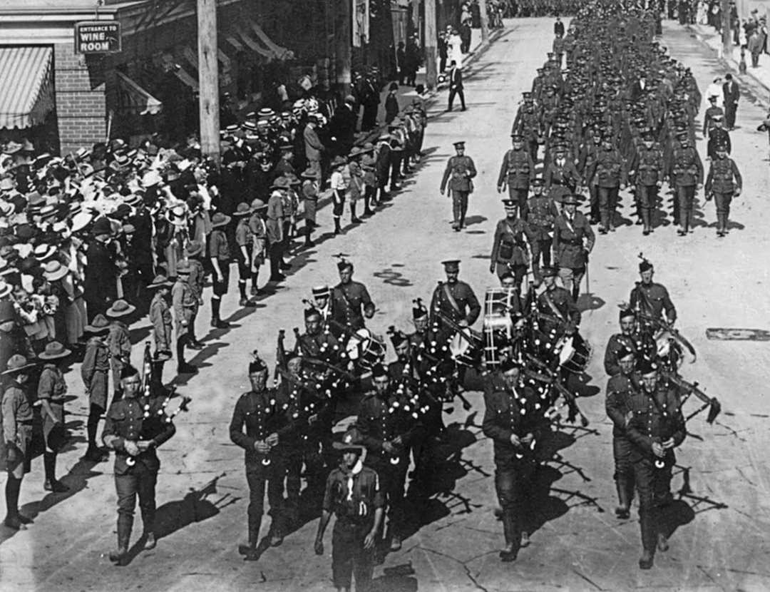 Princess Patricia's Canadian Light Infantry troops march through Ottawa on their way to Grand Trunk Central Station and, ultimately, the Western Front in August 1914. Of 1,089 men in that initial cohort, only 44 survived the war. (Library and Archives Canada)