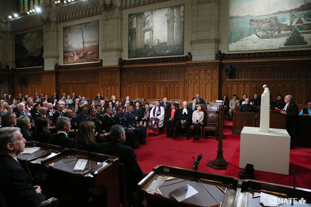 Speaker George J. Furey addresses a full Senate Chamber, speaking to the debt Canadians owe to our men and women in uniform.