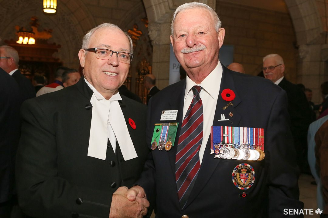 Speaker Furey meets Gerry Wharton, Honorary Dominion President of Army, Navy & Air Force Veterans of Canada (ANAVETS).