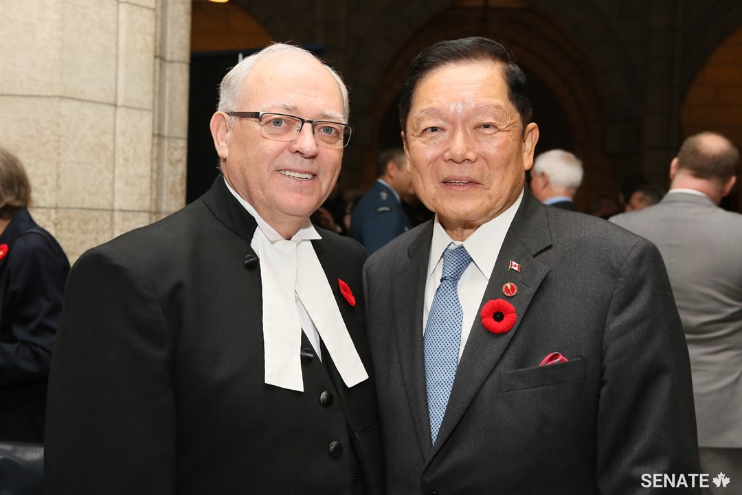Speaker Furey shares a moment with Senator Victor Oh.