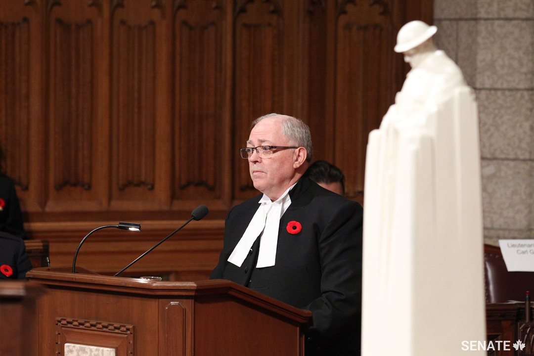 "Speaker Furey noted how 2017 was a major milestone in the commemoration of Canadian courage. This year marks the 100th anniversary of the battles of Vimy Ridge and Passchendaele, as well as the 75th anniversary of the Dieppe Raid. ""These pivotal moments, of enormous devastation, of extraordinary devotion and of boundless courage will – and always must – be shared,"" says Speaker Furey."