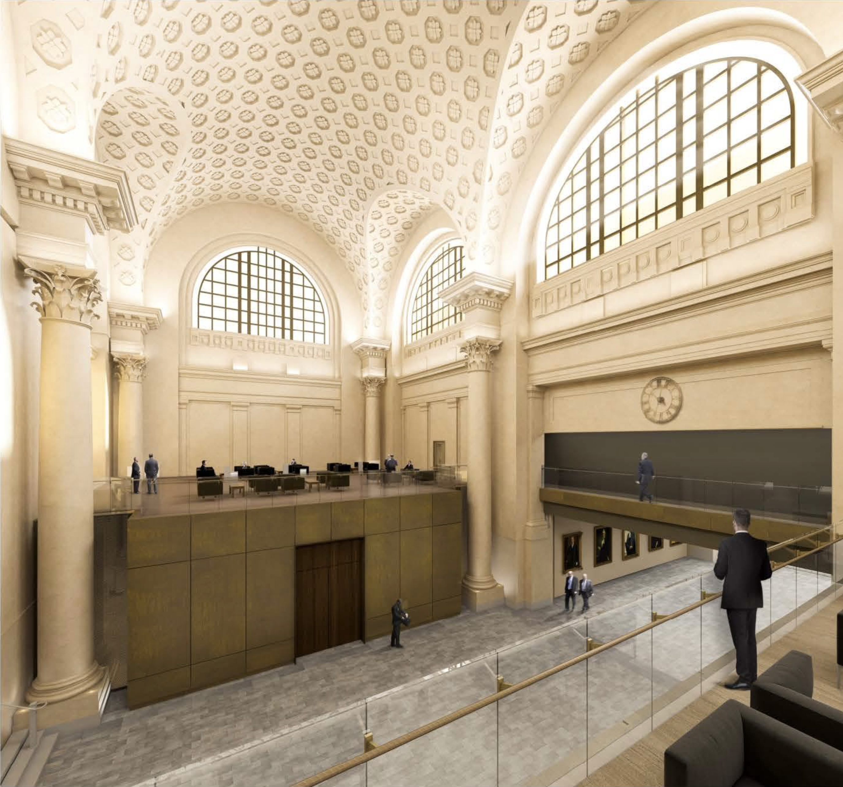 Architects have incorporated many of the architectural features that were typical of an early 1900s train station, such as vaulted ceilings, massive columns and large semicircular windows, into the design for the Senate's temporary home.