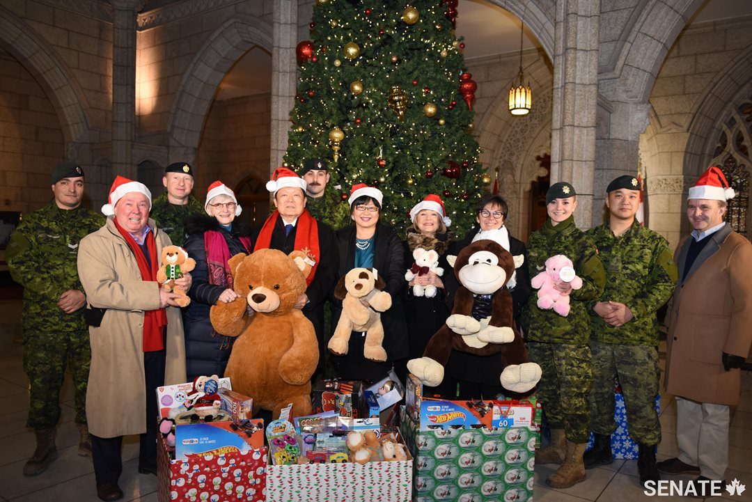 From left, senators Jim Munson, Patricia Bovey, Victor Oh, Yonah Martin, Diane Bellemare, Kim Pate and Grant Mitchell are joined by members of the Canadian Armed Forces as they gather this year's donations.