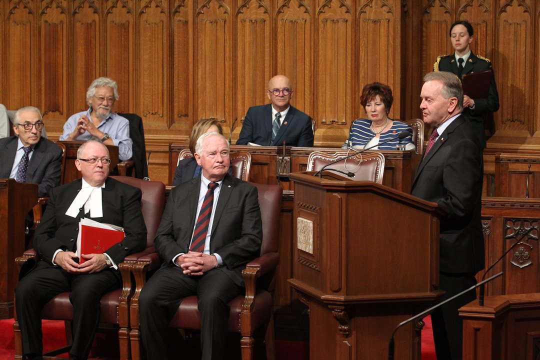 Senator Joyal delivers the opening remarks at his <a href='https://sencanada.ca/en/sencaplus/news/past-present-future-senate-symposium-puts-canada-150-in-context/'>Canada 150 Senate Symposium</a>. Over the course of the two-day event, leading Canadians mapped out the direction they predict the country will take in panel discussions on topics such as Canada's relations with First Nations, sustainable