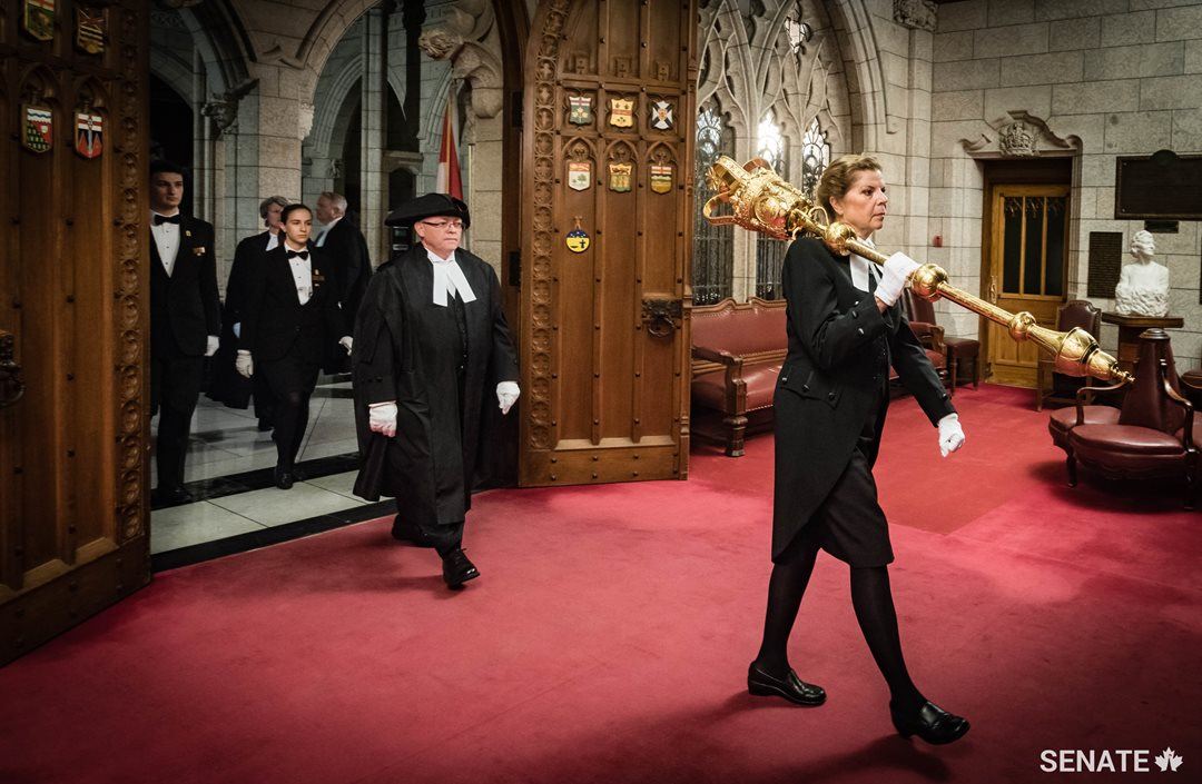 The arrival of the mace and the Speaker in the Red Chamber must take place before the Senate can begin to conduct its business.