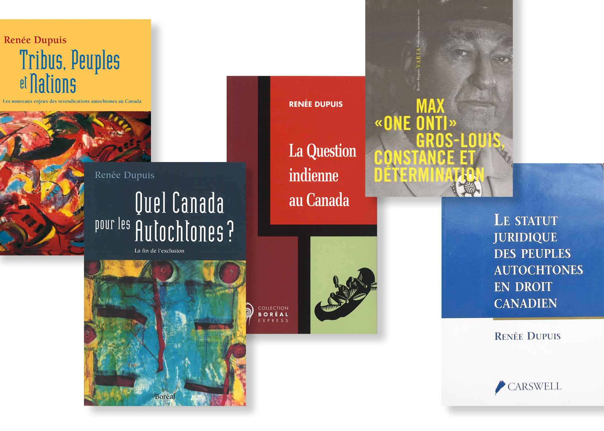 "In 2001, Senator Dupuis won the Governor General's Award for non-fiction for her book Quel Canada pour les Autochtones? La fin de l'exclusion (2001), which was later published in English as Justice for Canada's Aboriginal Peoples (2002). Senator Dupuis's other publications include Max ""One Onti"" Gros-Louis, Constance et détermination (2008), Tribus, Peuples et Nations (1997) and La question indienne au Canada (1991). Many of her articles have appeared in academic journals and popular magazines."