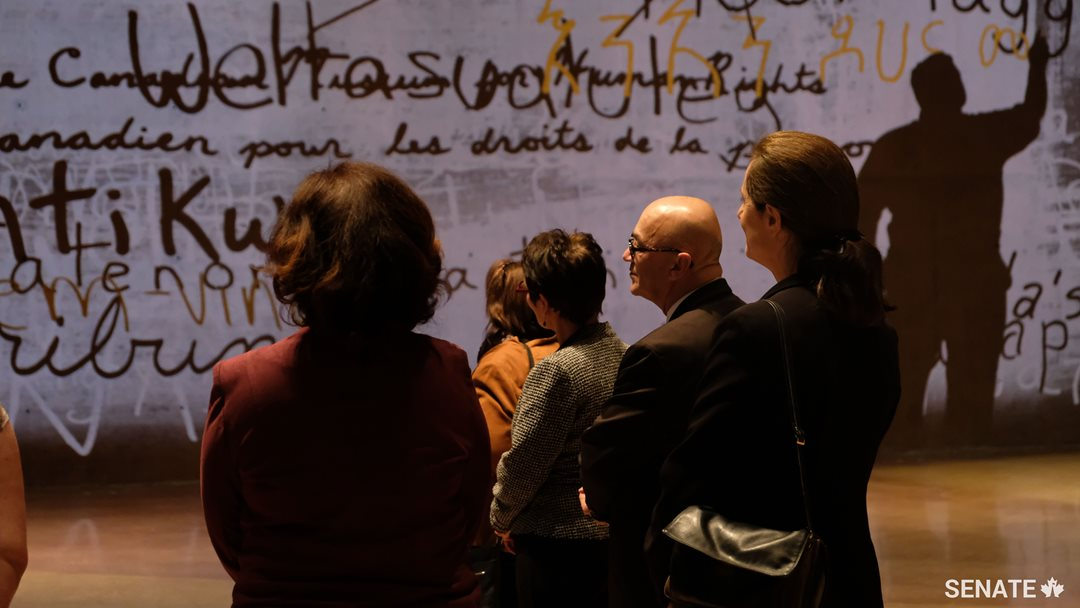 Members of the Senate Committee on Official Languages tour the Canadian Museum for Human Rights in Winnipeg as part of their study on the modernization of the <em>Official Languages Act</em>.