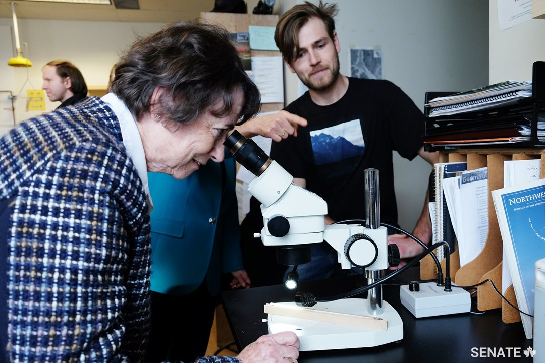 Senator Diane F. Griffin peers into a microscope to get an up-close look at a sample of a Douglas fir.
