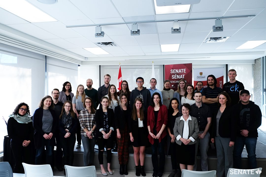 Senators host a panel discussion with environmental sciences, law and public policy students at the University of Calgary.