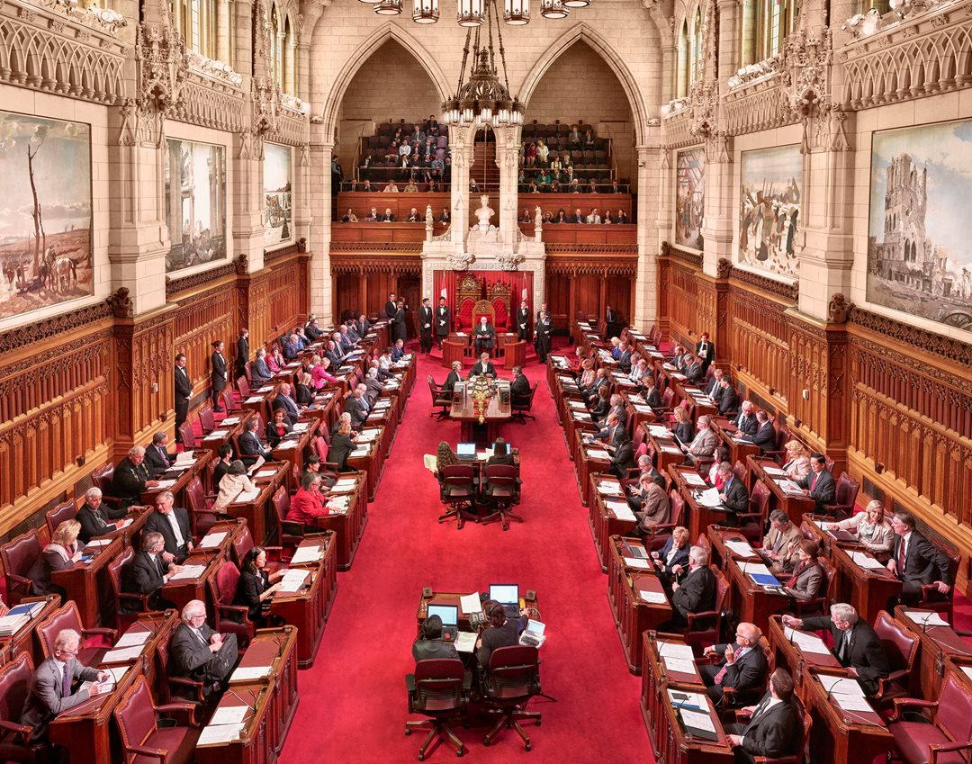 In Canada's Parliament, senators are legislators with the authority to introduce bills. Any bill that originates in the Senate Chamber, seen here, must also be passed in the House of Commons and vice versa.
