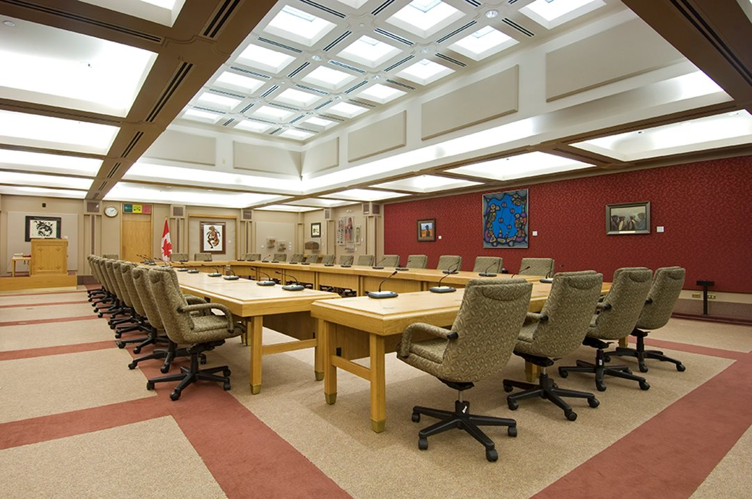 During the legislative process, a Senate bill may be referred to a committee — a small group of senators who study the impact of the proposed law in greater detail. The Aboriginal Peoples committee room, inside the Centre Block, is one of the places Senate committees meet to deliberate.