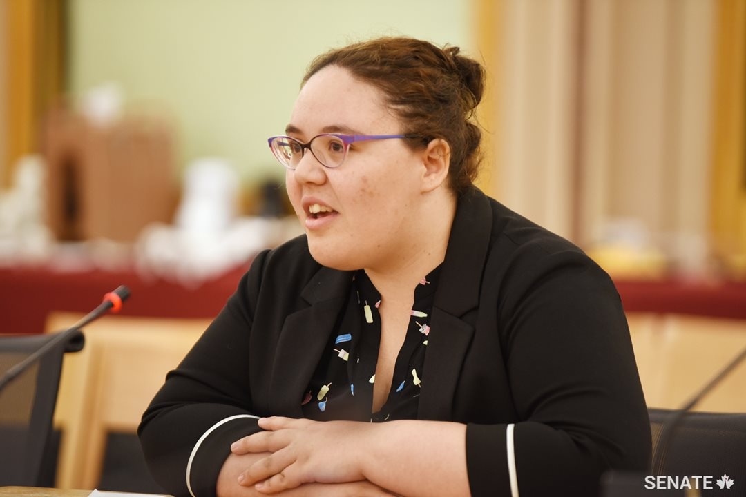 Kayla Bernard, a 22-year-old Mi'Kmaw woman from Halifax, testifies before the Senate Committee on Aboriginal Peoples on Wednesday, June 6, 2018 as part of Youth Indigenize the Senate.