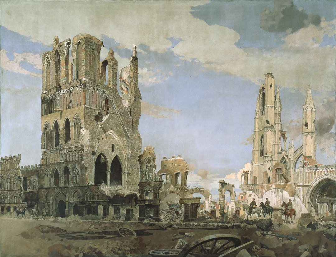 The Second Battle of Ypres in 1915, where Canadian troops endured poison gas and relentless shelling, reduced the once-magnificent Flemish town to ruins. Canadian artist James Kerr-Lawson juxtaposed the clearing smoke of battle with the shattered remains of the cloth hall and cathedral. (Beaverbrook Collection of War Art, Canadian War Museum, CWM 19710261-0334)