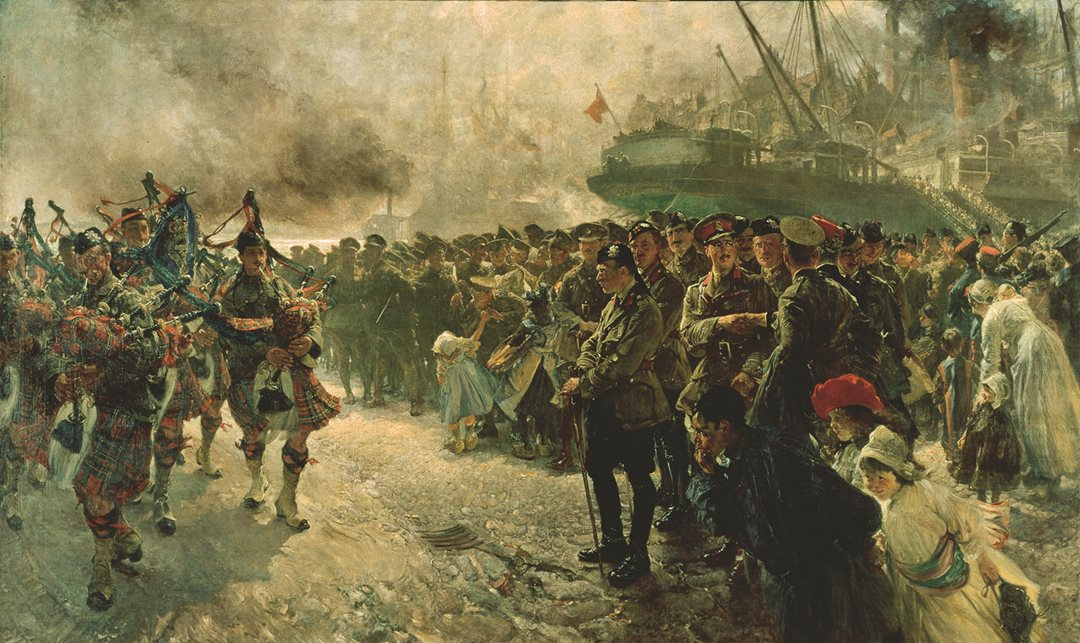 Edgar Bundy portrayed the moment Canadian troops first set foot on the European continent. The First Canadian Division, led by the Royal Highland Regiment pipe band, marches by the cheering residents of Saint-Nazaire, France and on to the Western Front. (Beaverbrook Collection of War Art, Canadian War Museum, CWM 19710261-0110)