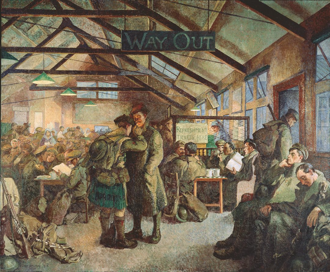 British painter Clare Atwood showed soldiers on leave in 1917, crowding a train station as they return to the Western Front. Although female artists were not allowed to document the battlefield, Atwood captured a revealing aspect of the exhausting conflict in this depiction of wartime London. (Beaverbrook Collection of War Art, Canadian War Museum, CWM 19710261-0017)