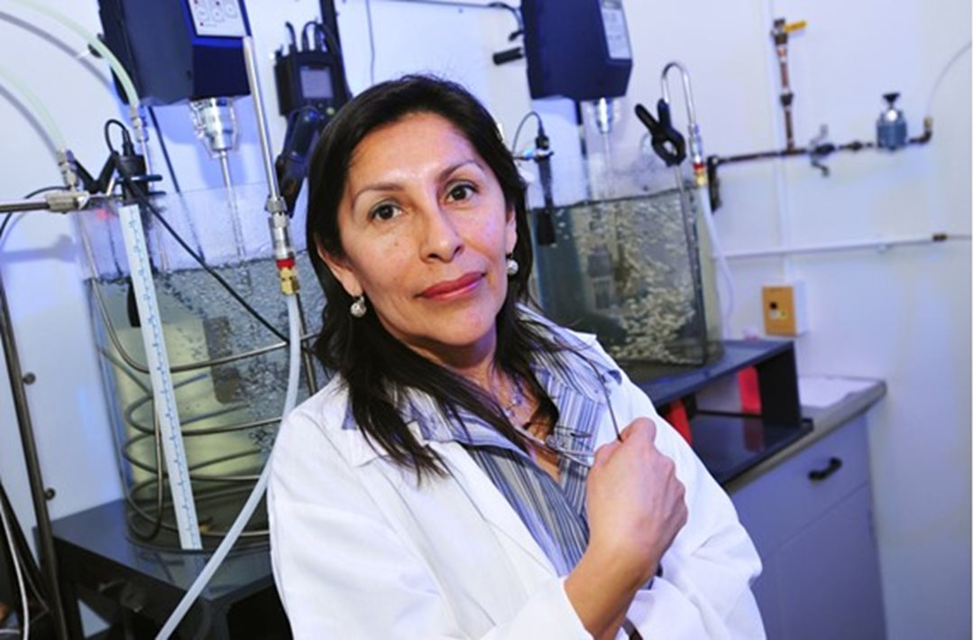 Senator Rosa Galvez in her laboratory at Laval University in Québec.