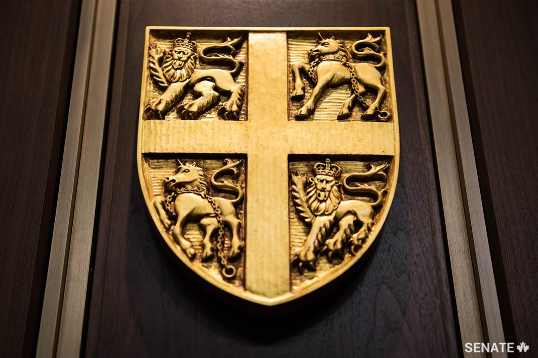 English lions, Scottish unicorns and the Cross of St. George form the elements of the shield of Newfoundland and Labrador.