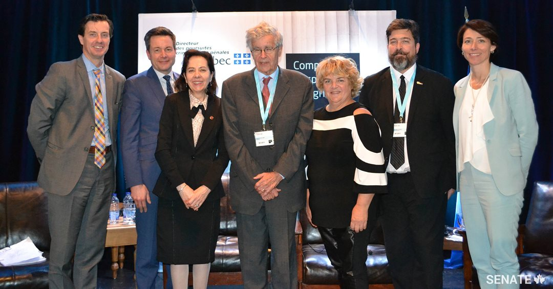 Senator Raymonde Saint-Germain was a panelist at the Quebec Congress of Criminal and Penal Prosecutors in November, 2017. She met with former Supreme Court Justice Louis LeBel (centre) and Radio-Canada Parliamentary Bureau Chief Sébastien Bovet (second from left). (Credit: Senator Raymonde Saint-Germain's office)