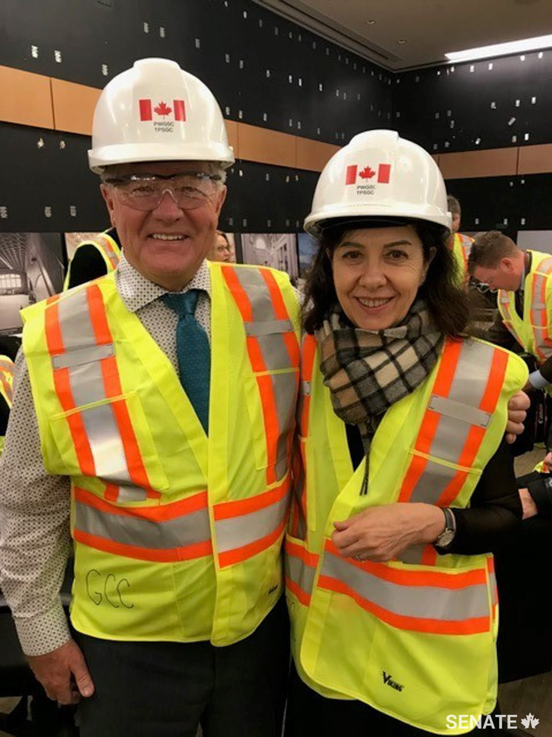 Senators Donald Neil Plett and Raymonde Saint-Germain visit The Senate of Canada Building, formerly known as the Government Conference Centre. The two active members of the Standing Senate Committee on Internal Economy, Budgets and Administration are interested in the progress of the future temporary home of the Senate.