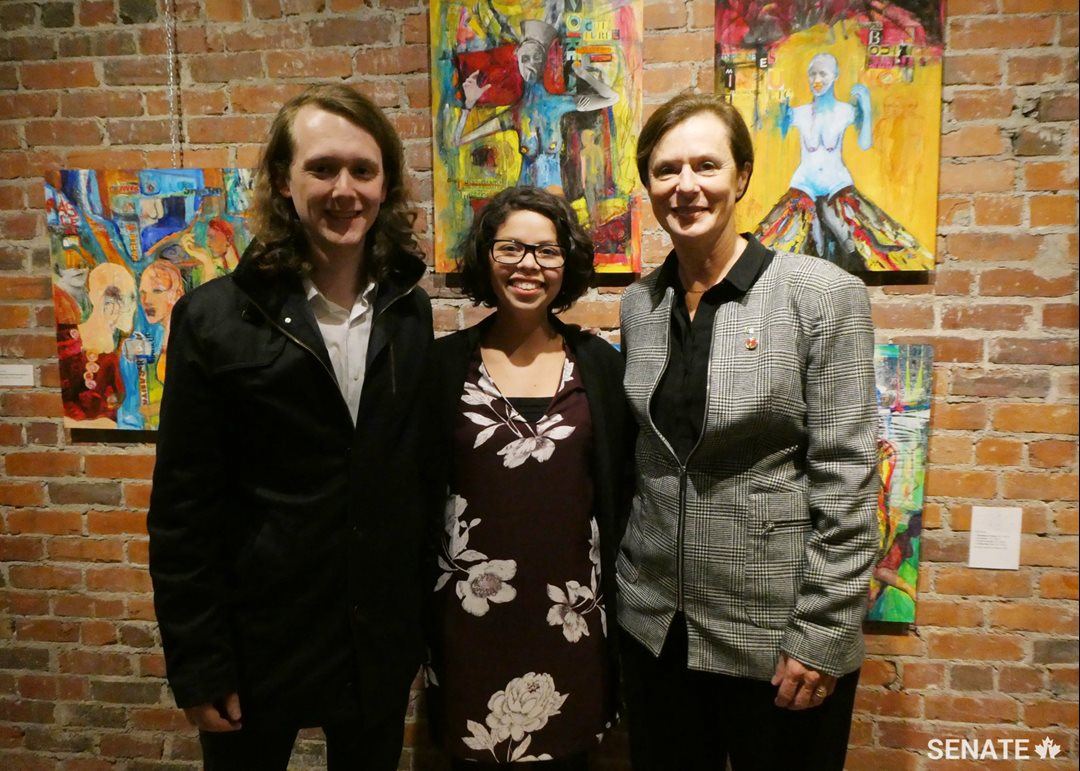 From left to right, Éric Dow, Communications and Public Relations Officer, Société de l'Acadie Nouveau-Brunswick, Nelly Dennene, Executive Director of the Regroupement féministe du Nouveau-Brunswick, and Senator Lucie Moncion, member of the Committee on Official Languages, at the Aberdeen Cultural Centre in Moncton on October 25, 2018.
